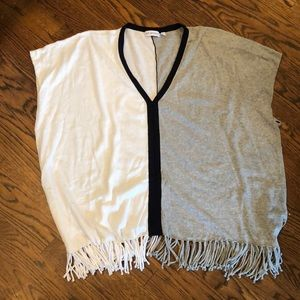 525 America color block fringed sweater OS